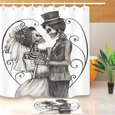 "Death Skull Wedding Home Decor Waterproof Fabric Shower Curtain Bath Mat Set 72"""