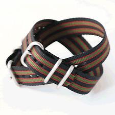 Black / Red / Khaki 'Real Bond' ZULU Watch Strap: 3 Ring: 20mm or 22mm (FL69)