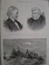 Tren de vapor lavar pistas en inundaciones cerca de Newark 1875 antiguos impresión