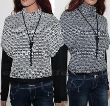 Maglia donna collo alto maniche lunghe doppia maglietta Made in Italy
