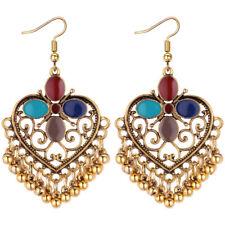 Vintage Drop Dangle Tassel Earrings Women Heart Bohemian Flower Enamel Earrrings
