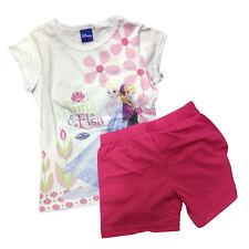 FROZEN pigiama corto t-shirt+pantaloncino bianco e fucsia in cotone da bambina