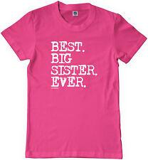 Threadrock Girls Best Big Sister Ever Youth T-shirt Sibling Slogan Gift