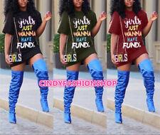 Usa Summer Women Girl Letter Print O-Neck Short Sleeve Casual Mini Dress #T