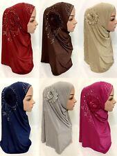 Ramadan Muslim Women Flower Hijab Islamic Shawls Scarves Cap Headwear Amira Hat
