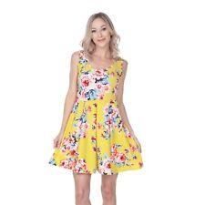 Printed Fit & Flare Dress, Rose Floral Design Sleeveless Scoop Neck Above Knee