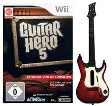 Nintendo Wii Spiel - Guitar Hero 5 + Guitar / Guitar #rot-weiß (mit OVP)