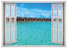 Beach Hotel View Window 3D Wall Decal Art Mural Home Decor Canvas Vinyl W177