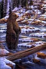 Tile Mural Backsplash Ceramic Kendrick Bear Wildlife Animal Lodge Art POV-LKA011