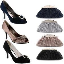 Women's Peep Toe Diamante Accent Clasp Ruffled Effect Ladies Heels Clutch Bag