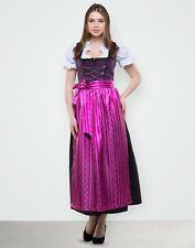 Dirndl Lang 3 tlg Set Gr 38 40 42 44 46 48 50 52 54 56 58 Violet Schwarz Tracht