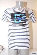 Tee-Shirt Homme CROSSBY 16716 TUNIS - 52 Marin US - Blanc Bleu rayé - S / M NEUF
