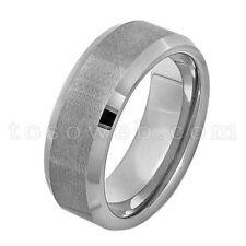 Men's 10mm Beveled Edge High Polish w/ Flat Brushed Center Tungsten Ring TS2020