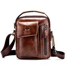 Bullcaptain Men Genuine Leather Business Messenger Retro Crossbody Shoulder Bag