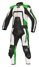 Neue, hochwertige Lederkombi Kurzgröße zweiteilig schwarz grün Leather Suit