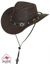 "NEU Scippis Leder Hut Westernhut Cowboyhut ""CONCHO"" Lederhut Braun Westernhut S"