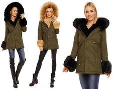 Damen Jacke Parka Mantel Blogger Winter XXL Fell Pelz Kapuze Kunstfell 8041