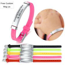 Personalized Name Text Medical Alert ID Kid Child Bracelet Wristband Adjustable