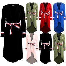 Womens High Low Dipped Hem Cardigan Ladies Blazer Tie Stripes Belted Coat Duster