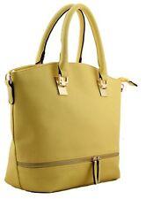 Womens Faux Leather Plain Solid Color Tote Shoulder Handbag Ladies Purse Bag