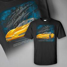 C5 Corvette Black T Shirt with Repeat CORVETTE Script 604711