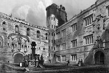 VLIES Fototapete-ANTIKE ILLUSTRATION-(3982V)-Schwarz-Weiß Schloss Schloß Burg