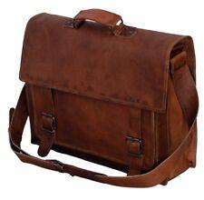 """18"""" Leather Vintage Messenger Shoulder Men Satchel S Laptop School Briefcase Bag"""