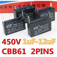 CBB61 450V 1/1.5/2.5/3/4/5/6/8/10/12 UF Air conditioner Fan Motor Capacitor 2PIN