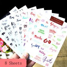 Carta de Palabras Pegatinas caligrafía Craft Diario Papel Scrapbook Vintage de fiesta palabras