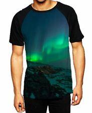 Aurora Borealis Northern Lights Mountains Men's All Over Baseball T Shirt