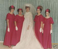 VINTAGE MID CENTURY MODERN WEDDING GOWN BRIDESMAIDS PINK COLOR KODAK 60s  PHOTO