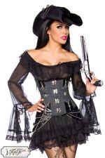 Sexy Piratenkleid für Damen Piratin Longbluse Kostüm Kleid Spitze Rock Gr. XS-XL