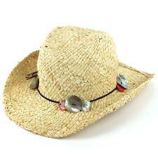Straw Cowboy Hat Western Stetson Womens With Shell New Sun Beach Wide Brim