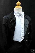 Baby,Toddler & Boy Formal WeddingTail Tuxedo Suit Black white vest sz:  S M L-20