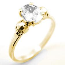 Anello Teschio Oro 9 Carati 1,4 CT taglio OVALE Diamante A Mano Anello di fidanzamento