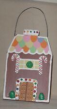 "GINGERBREAD HOUSE ORNAMENT GINGERBREAD DOORS 5 3/4"" WOOD ORNAMENT CHRISTMAS"