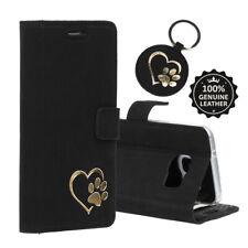 SURAZO® Echtes Ledertasche Hülle Handy Case Cover Schwarz - Gold Pfote im Herz