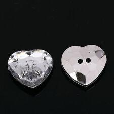AB5 20 stück Zum aufnähen strass herz KNÖPFE Funkeln Acryl Kristall-strasssteine