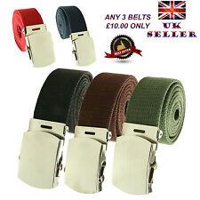 Unisex 30mm/40mm Banda De Lona Casual Militar Liso Cinturón Hebilla vendedor GB