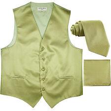 New men's tuxedo vest waistcoat & neck tie set horizontal stripes sage green