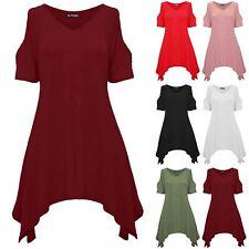 Mujeres Damas Cuello en V Vestido Camiseta de hombro frío en capas Pañuelo Dobladillo Top Holgado