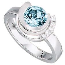 Damen Ring 585 Gold Weißgold 1 Aquamarin hellblau blau 5 Diamanten Brillanten