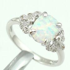Delicate Chic Rings Fire Opal 925 Silver Fancy Rainbow Gemstone Fashion Jewelry