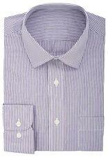 Ex Store Cotton Rich Quick Iron Bengal Stripe Shirt Purple & White