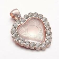 4 Heart Shaped Rhinestone Pendant Bezel Tray Sets - Matching Clear Glass Cabocho