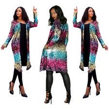 Women Fashion Long Sleeve Metallic Color Sequins Long Coat Clubwear Casual