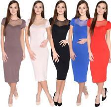 Kleid Kurzarm Top mit Tüll-Ausschnitt Gr. S M L XL, 36 38 40 42