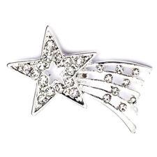 PinMart's Silver Plated Rhinestone Shooting Star Brooch Pin