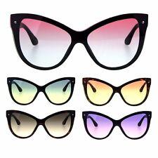 Womens Oceanic Gradient Shield Lens Horned Cat Eye Sunglasses