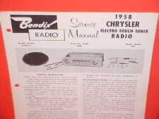 1958 CHRYSLER NEW YORKER WINDSOR 300D CONVERTIBLE BENDIX RADIO SERVICE MANUAL 2
